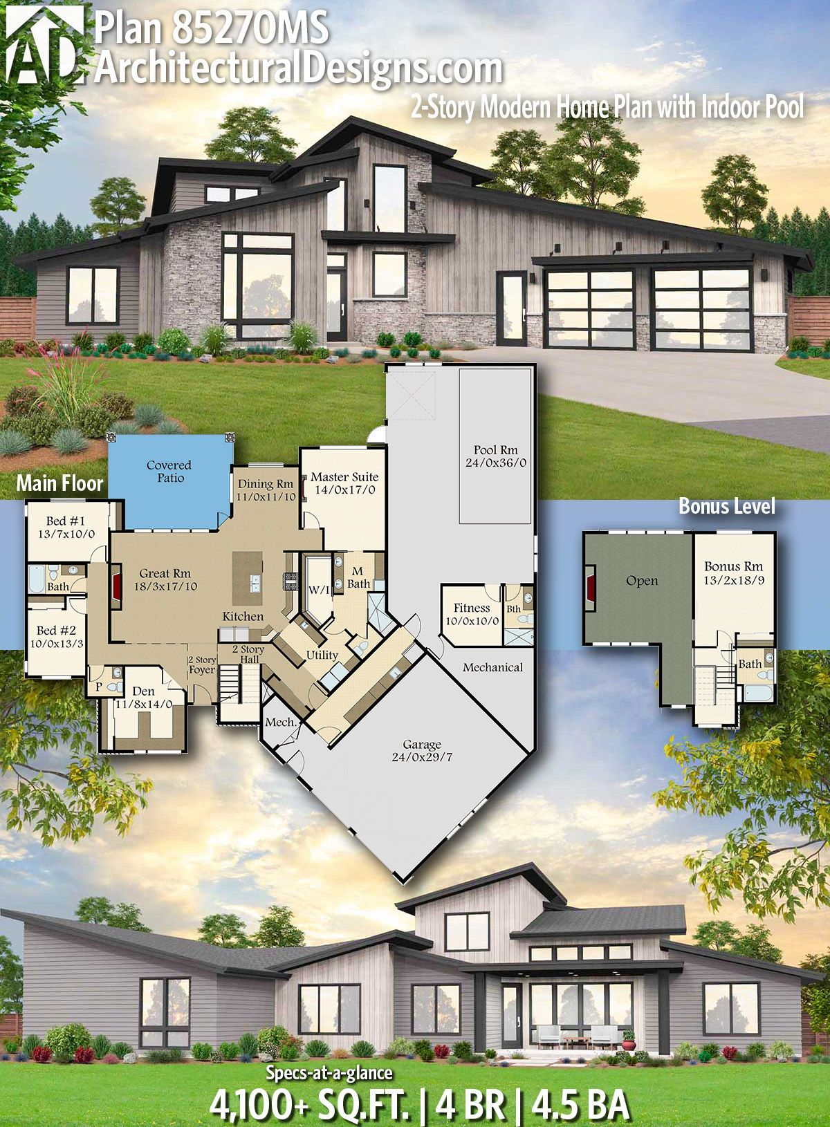 Plan 85270ms 2 Story Modern Home Plan With Indoor Pool House Plans Modern House Design Beach Style House Plans