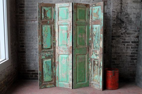 Vintage Indian Screen Salvaged Doors Wood Room Divider Headboard Distressed Green Industrial Farm Chic Import Furniture & Vintage Indian Screen Salvaged Doors Wood Room Divider Headboard ...