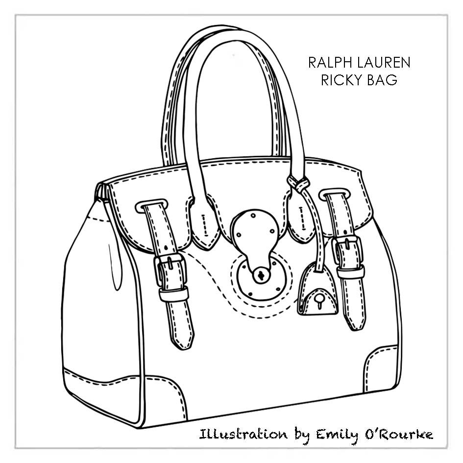 Tote bag template illustrator - Ralph Lauren Ricky Bag Designer Handbag Illustration Sketch Drawing Cad