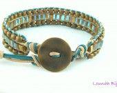 Bracelet tressé ethnique naturel , turquoise et perles de Lounah