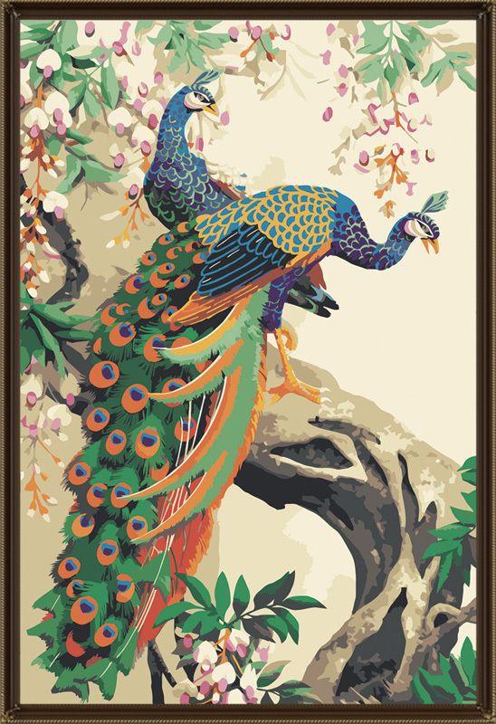 Da pintura decorativa diy da união dos amantes da pintura a óleo de Digitas pavão mural 60 90