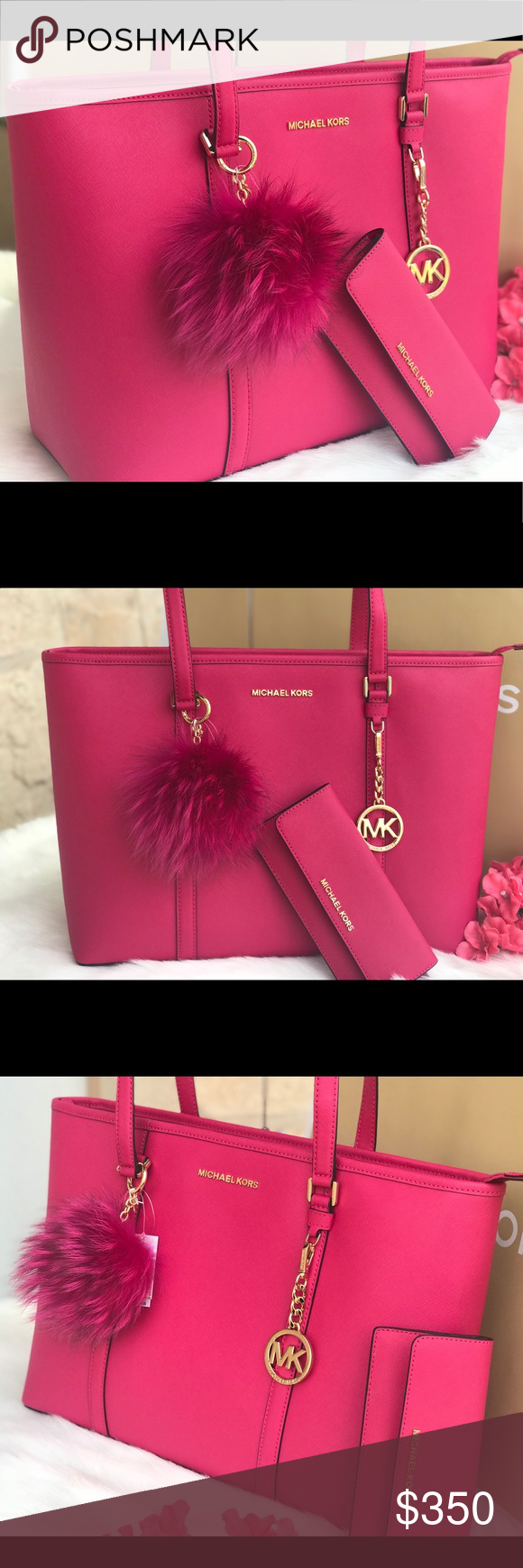 ec44a36b01e8 🌷MICHAEL KORS Ultra Pink Large Leather Tote Set MICHAEL KORS Large Leather  Ultra Pink Sady Tote Set 🌷Pom Pom is not included