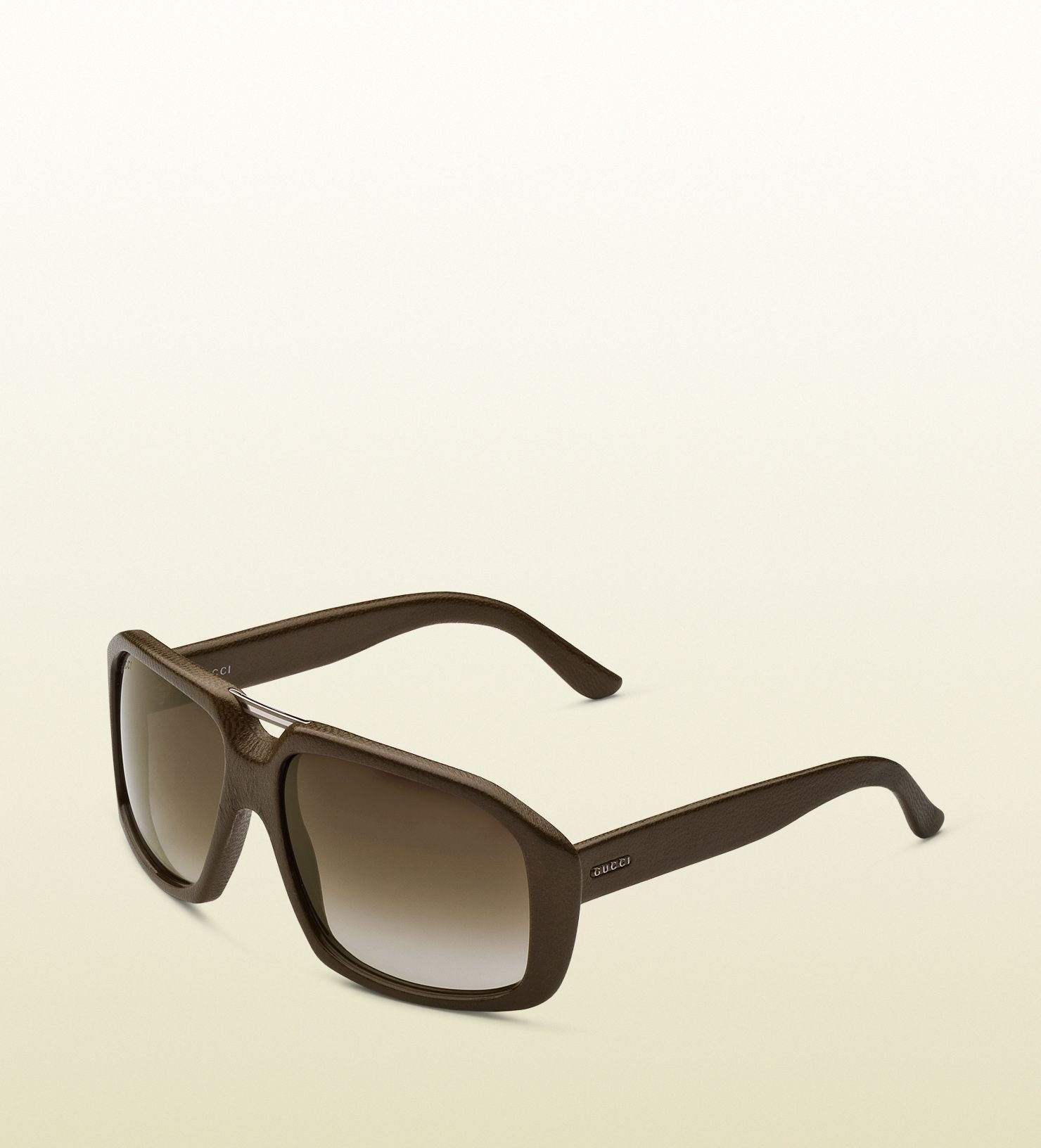 778c4b6ffa32 Gucci Large Rectangle Frame Sunglasses in Brown for Men (mud) | Lyst ...