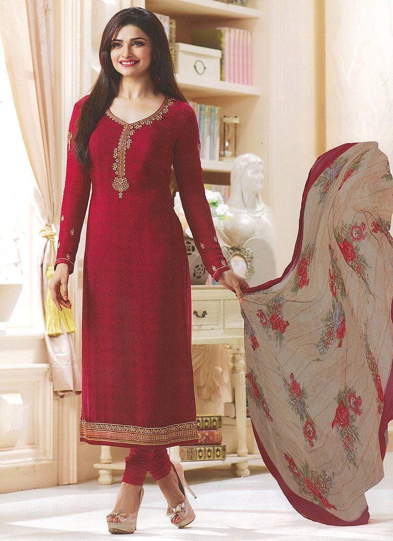 b9d8da669ae Buy Prachi Desai Maroon Crepe Straight Suit online
