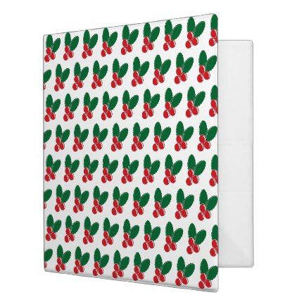 christmas red berries green leaves pattern 3 ring binder red style
