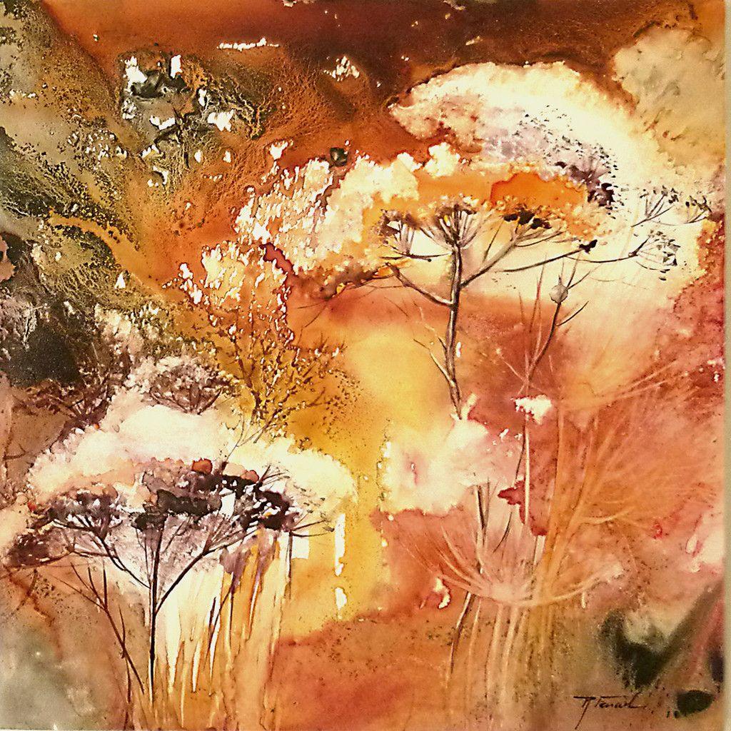 Aquarelles Vernies Sur Papier Yupo Peinture Fleurs Fleurs