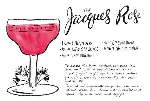 The Jacques Rose Cocktail Recipe Card #OSBPhappyhour