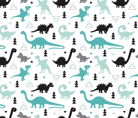 Adorable boys fabric with black and blue dinosaur for Kids dinosaur fabric