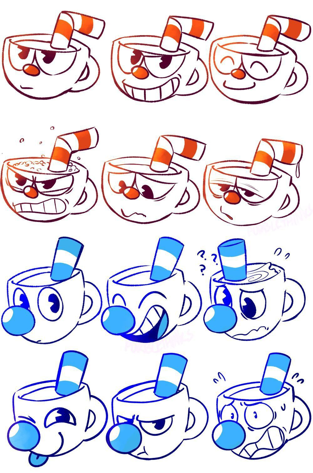 Cuphead and Mugman expressions Cuphead Cuphead game
