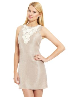 Alexia Admor Taupe Sheath dress with floral lace bib detail