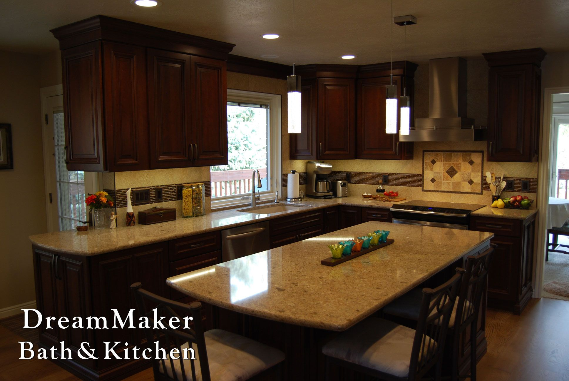This kitchen remodel included some darker colors