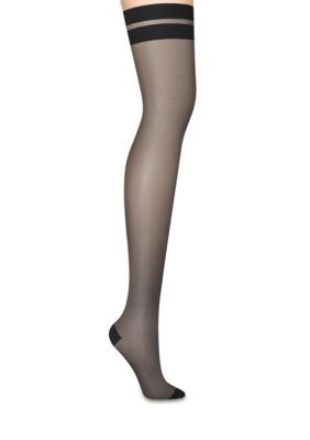 7191906dc Dkny Women s Sheer Stripe Tip Thigh High Tights - Black - 4 Tall Or Long Or