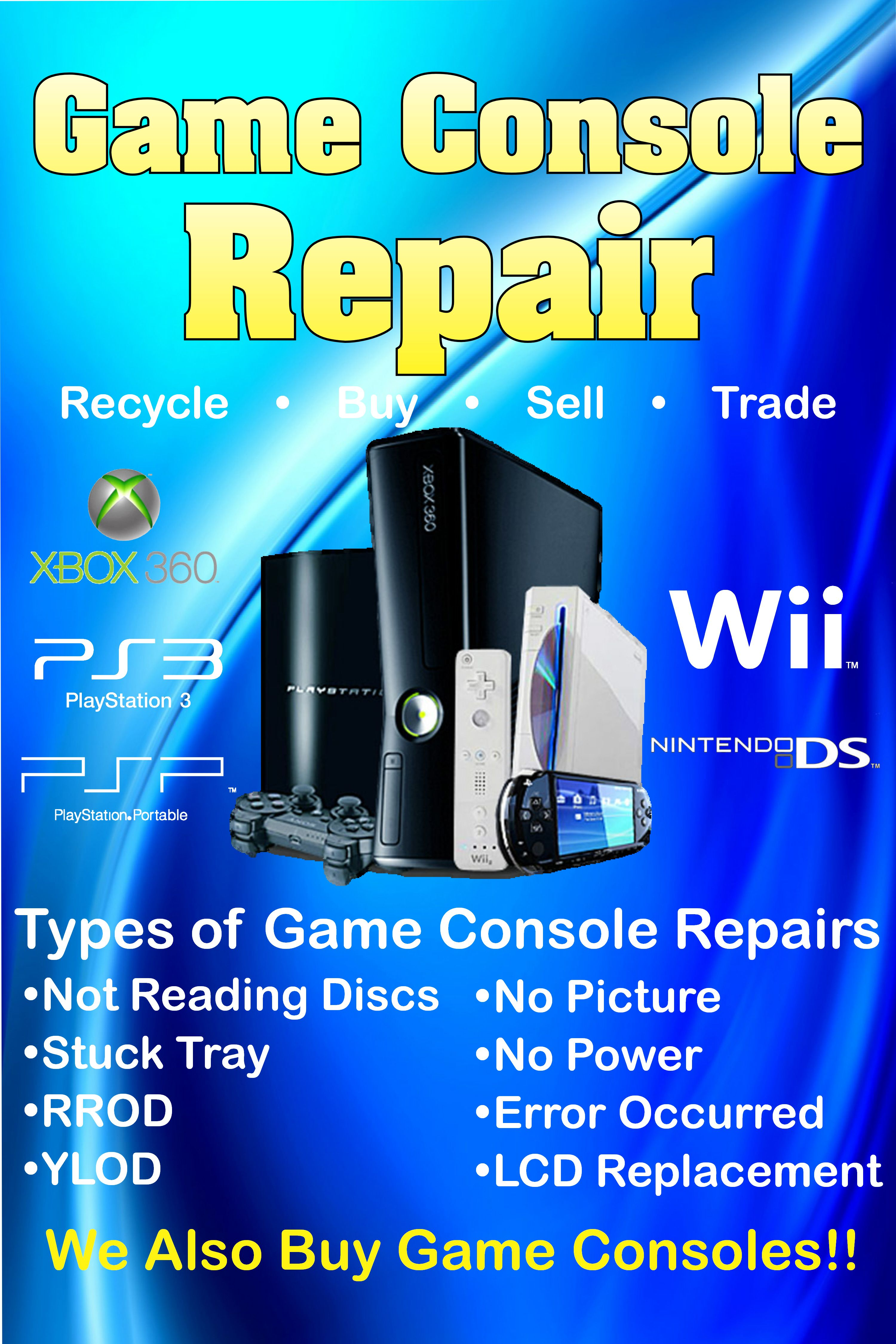 We repair all type of video game consoles like the PS3