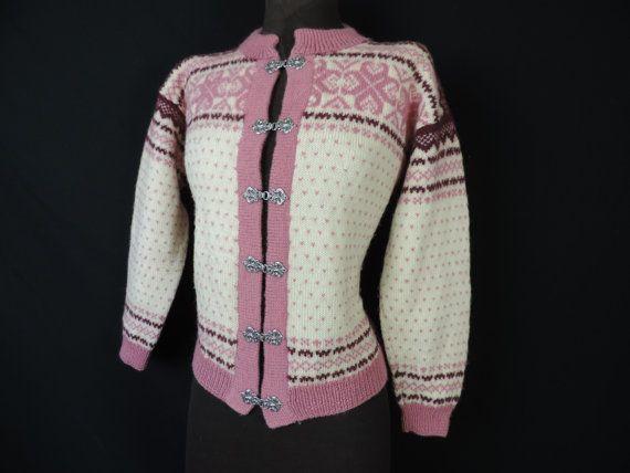 vintage norwegian / icelandic sweater. cream and pink floral wool cardigan. medium.