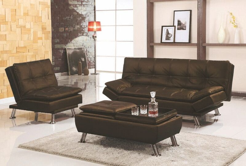 Asia Direct 8631 2 3brn 3 Pc Set Brown Faux Leather Accented Sching Tufted Adjule Futon Sofa Chair And Ottoman