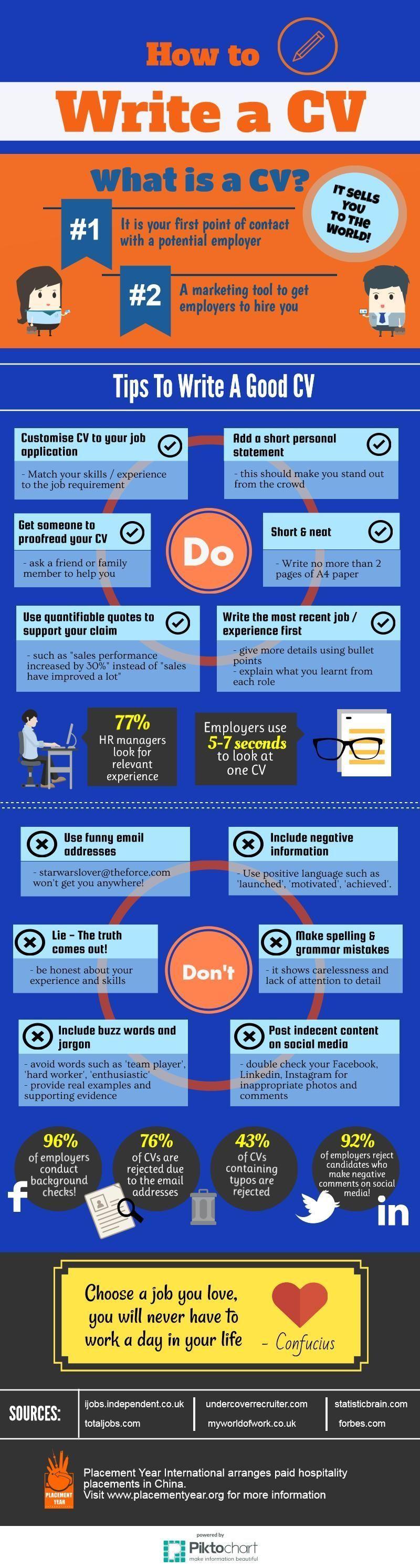 How to write a cv infographic career resume resumetips