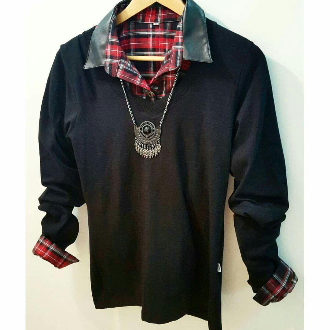 Camisa escocesa + Sweater + Collar boho #AW16