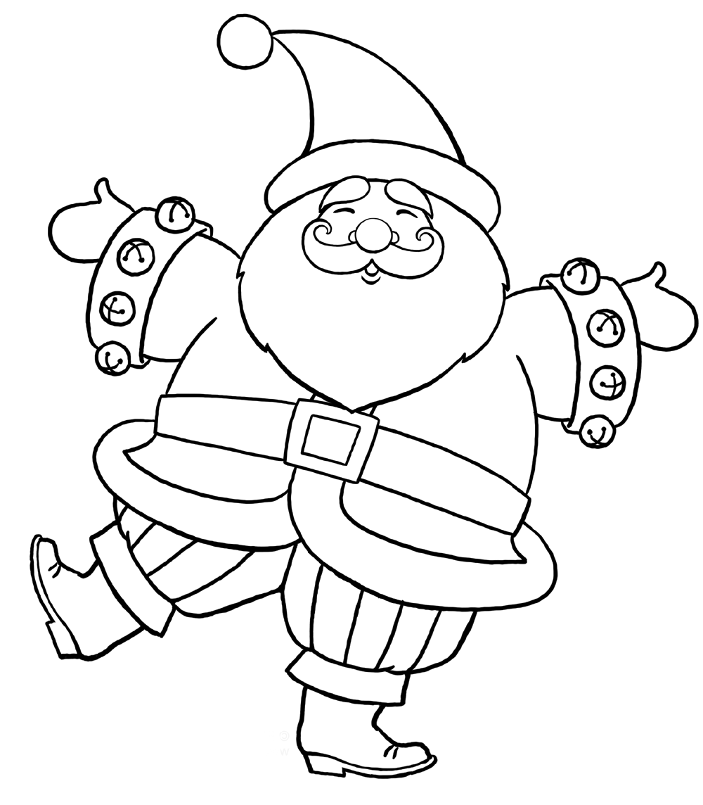 Santa Claus Very Happy In Christmas Coloring Pages | A imprimer ...