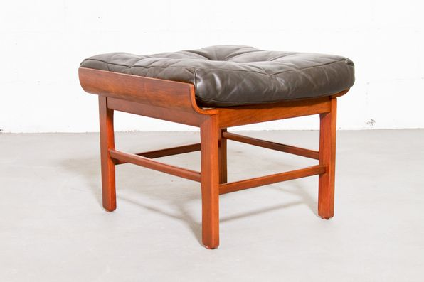 Mid-Century Ottoman with Leather Cushion and Bentwood Cradle.