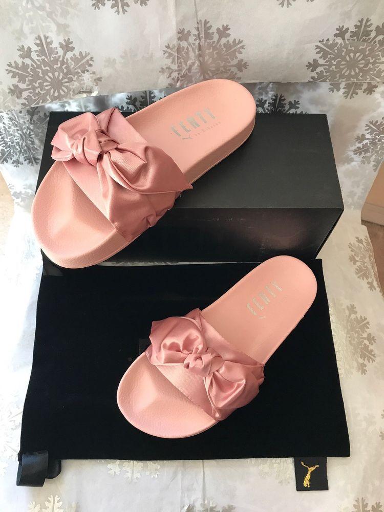 best service ad9e6 67a4a PUMA X Rihanna Fenty Bow Slides Slippers Pink Women's Size ...