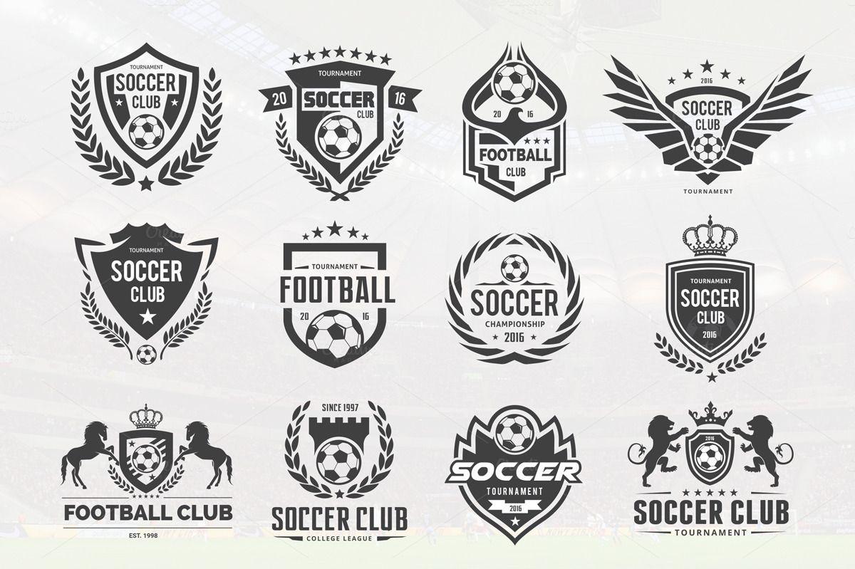 Football logo Set (Vector+PSD) Football logo design