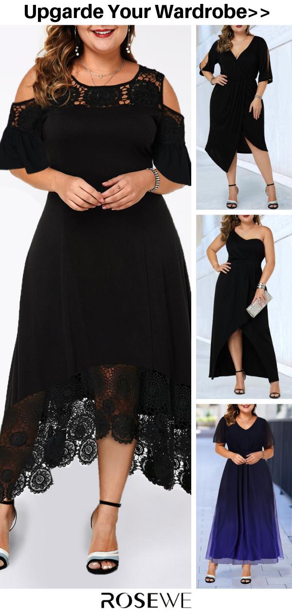 Photo of Hot Sale & Cold Shoulder Lace Patchwork Plus Size Black Summer Dress