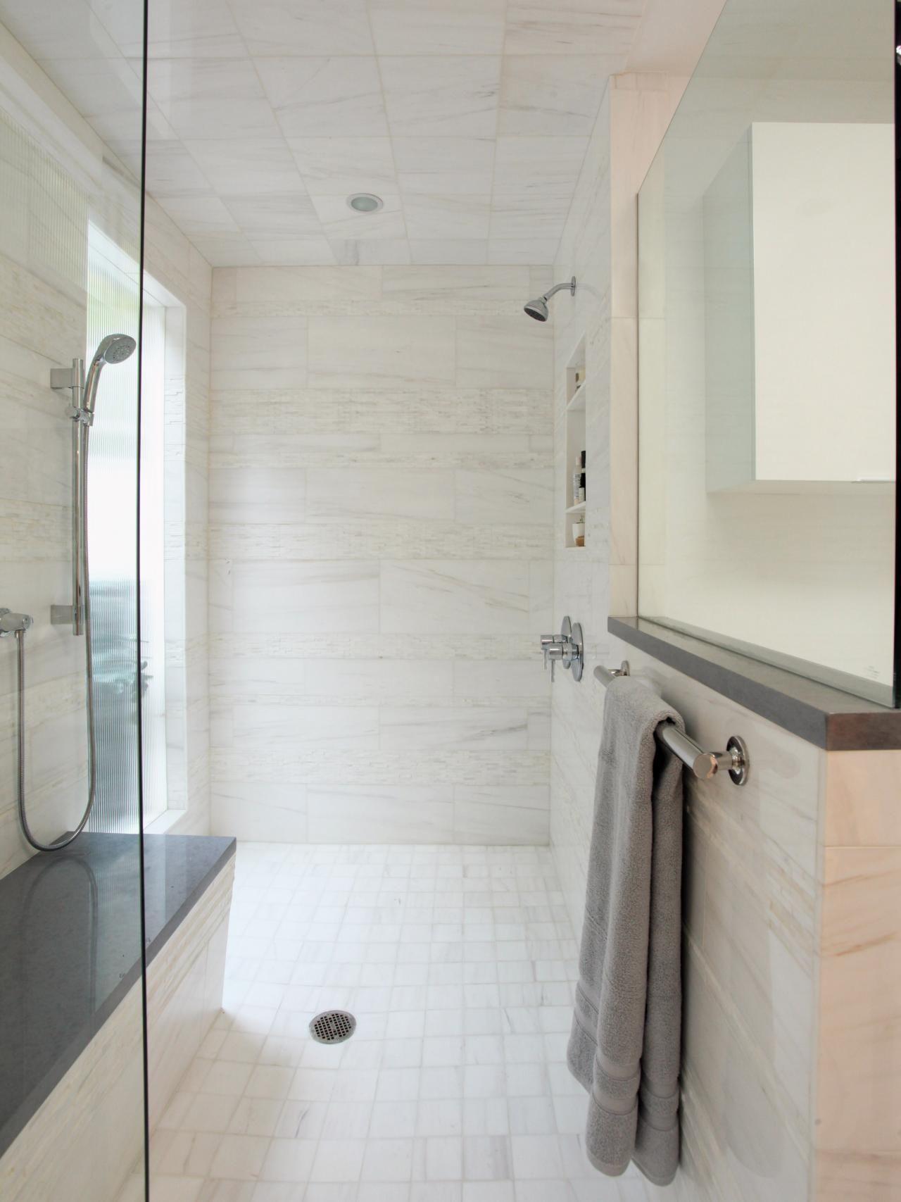 Bathroom Shower Designs | Shower storage, Hgtv and Glass doors
