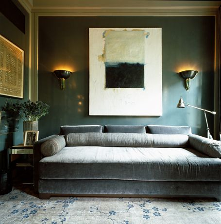 Studio Sofield / gray velvet sofa / teal wall HOME - Living - wohnzimmer blau grau