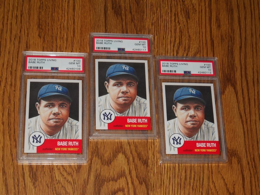 3 card lot 2018 topps living 100 babe ruth psa 10 babe