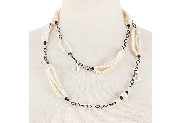 Pearl and Crystal Hoops Necklace on OneKingsLane.com avindy
