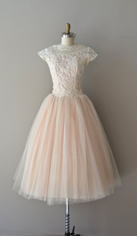Cute pink lace tulle short prom dress, vintage prom dress for teens ...