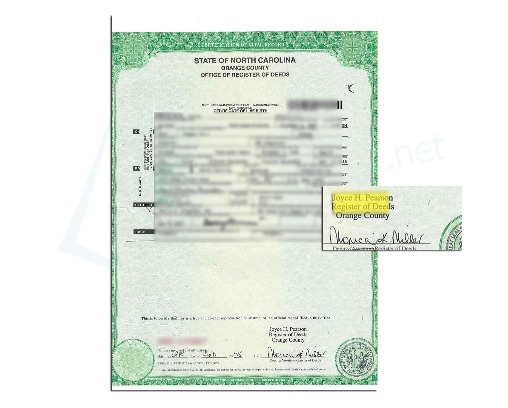 Orange County State Of North Carolina Birth Certificate Issued By