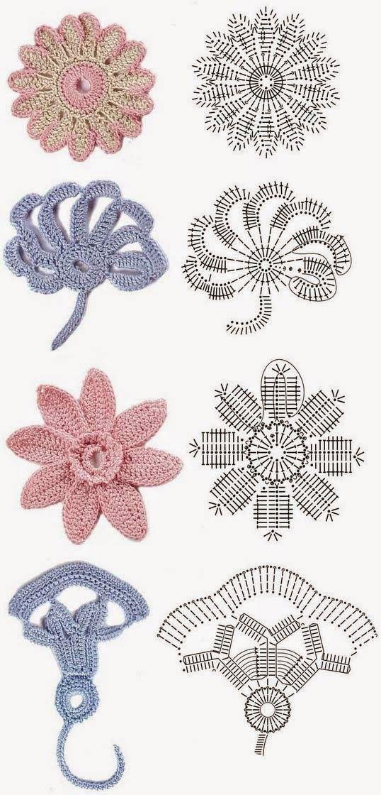 Tejido Facil: Patrones: nuevo set de flores 4 | ganchillo ...