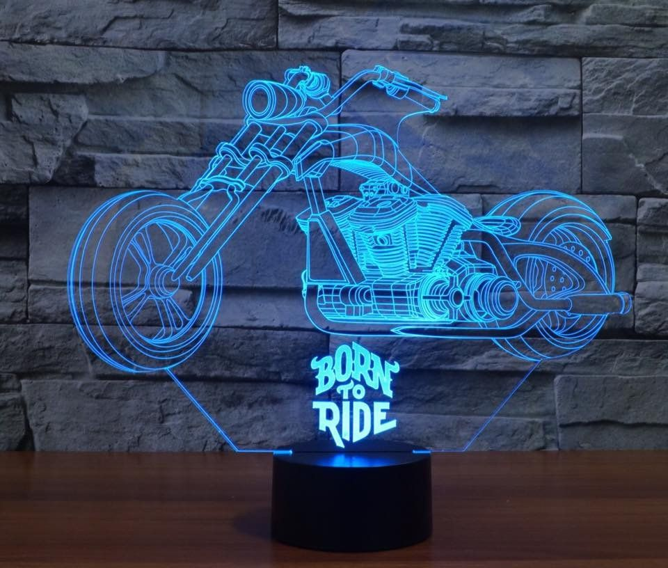 7 color 3d born to ride led lamp Creative, Cool diy