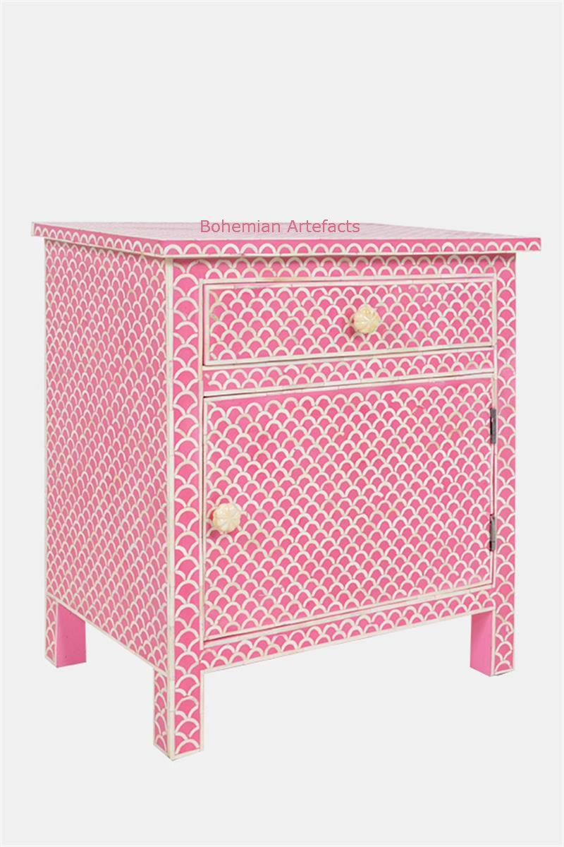 Pink Bedside Table: Bone Inlay Pink Bedside Table Fish Scale Design