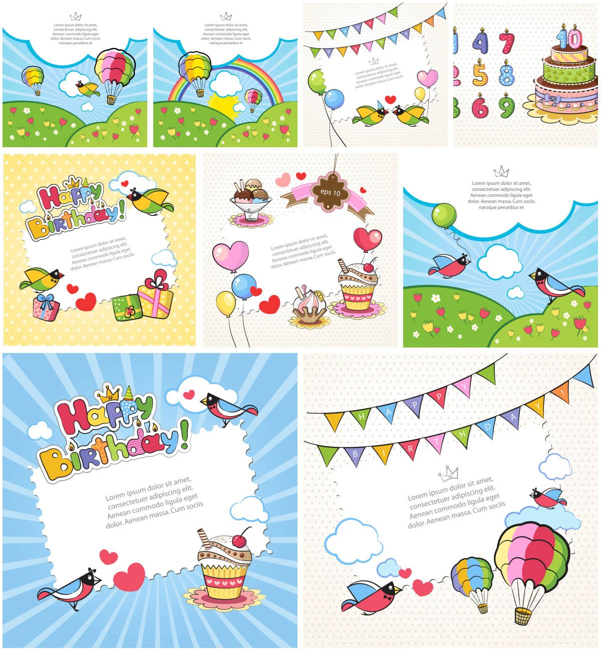 Set Of  Vector Birthday Cards Templates For Your Kids For