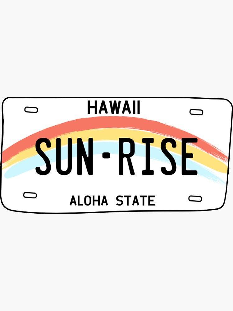 Pegatina 'Hawaii Sun Rise License Plate' de sflissler