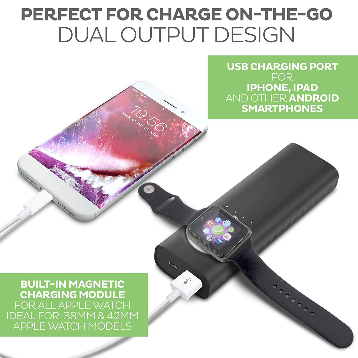 Apple watch charger dock and iphone powerbank apple mfi