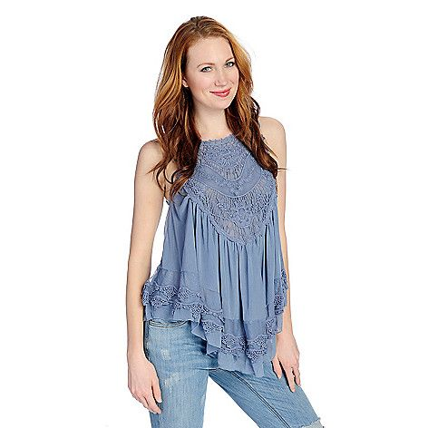 47470f59e0a 722-744 - Indigo Thread Co.™ Knit Mesh Sleeveless Lace Crochet BabyDoll Top