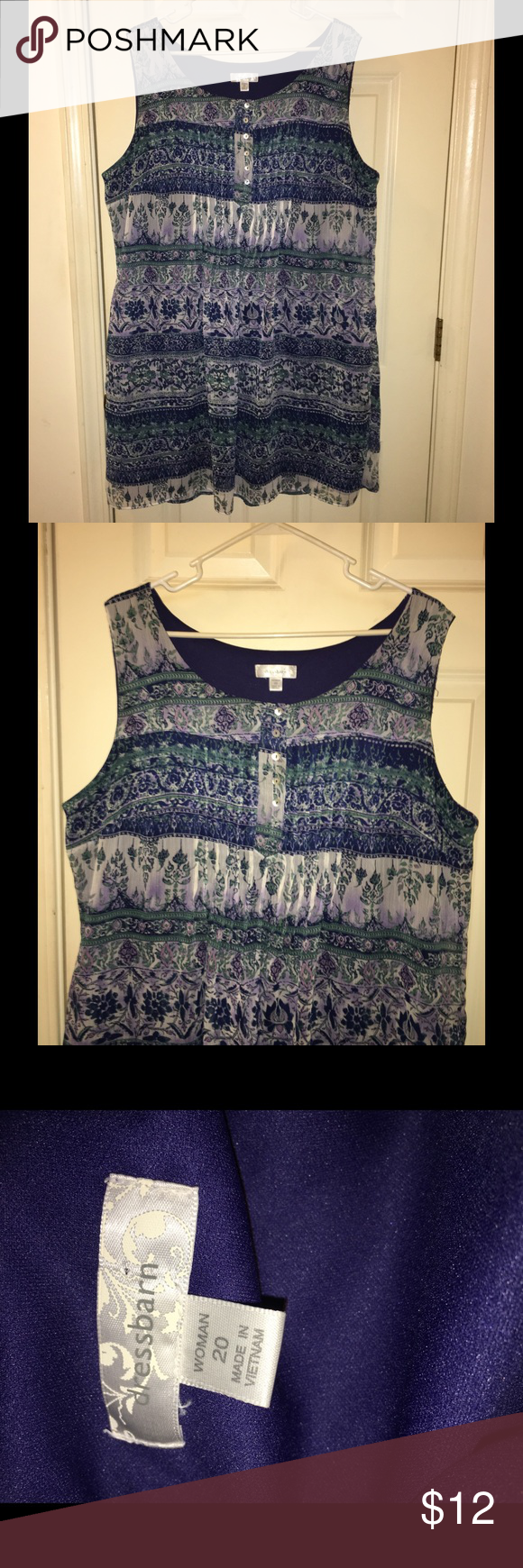 Dressbarn Size 20 Sundress Blue printed dress. Sleeveless sundress.  Shirt style.  Dress is 39 inches long.  Can also be worn with legging capris.   Size 20.  From Dressbarn. Good condition.  Important:   All items are freshly laundered as applicable prior to shipping (new items and shoes excluded).  Not all my items are from pet/smoke free homes.  Price is reduced to reflect this!   Thank you for looking! Dress Barn Dresses Mini