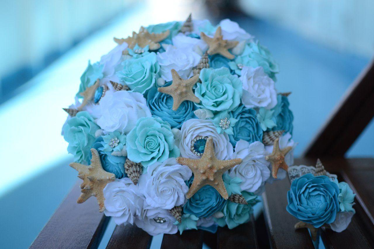 Beach Flowers Nautical Seashell Wedding Wedding Bouquet Clay