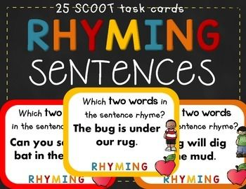 Worksheets Rhyming Sentence rhyming word sentences teaching emergent readers and good ideas task cards 28 aligned to rf k 2