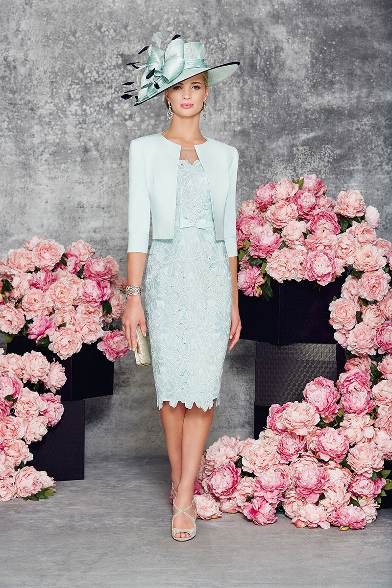 Pink lace dress with jacket  Fitted short lace dress with sleeves and tailored short jacket