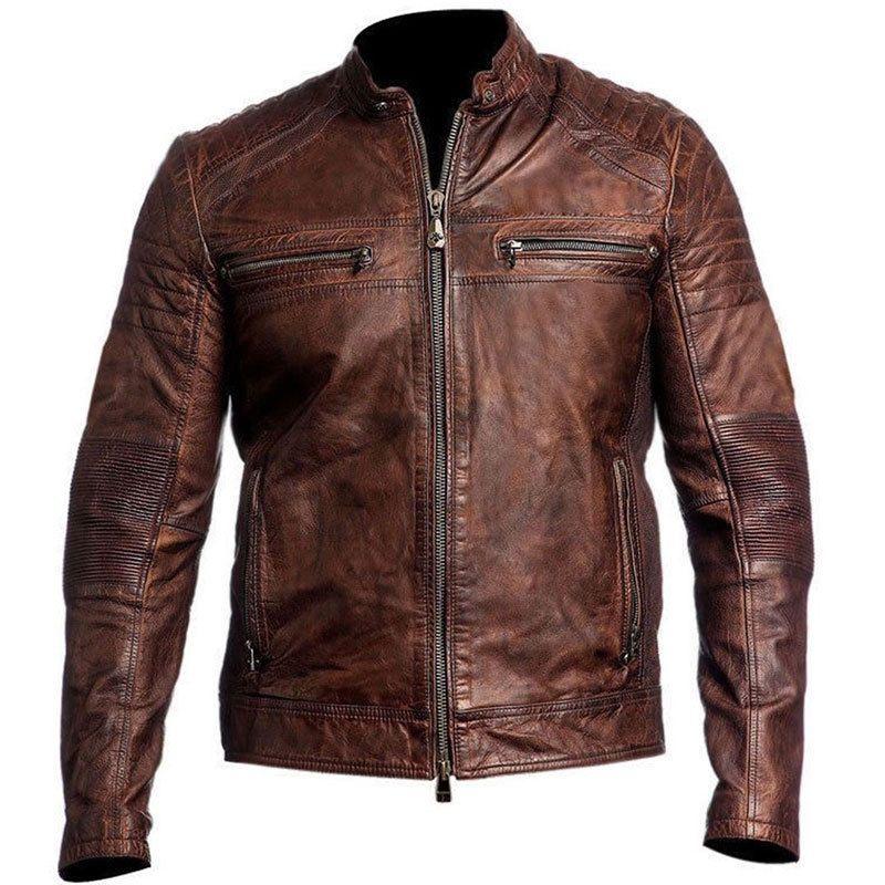 Jacket Collection Biker Vintage Moto Distressed Brown Cafe