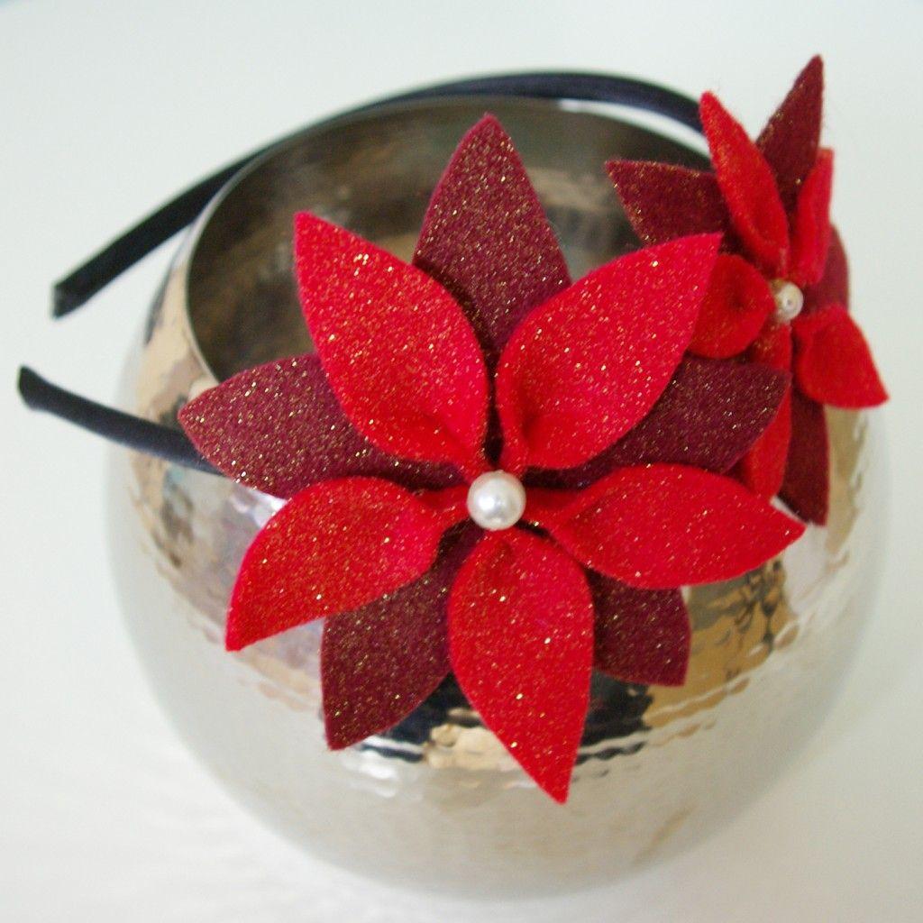 Weihnachten Weihnachts-Deko Dekoration Haar Accessoires Haarreifen selber machen Anleitung DIY rot 2
