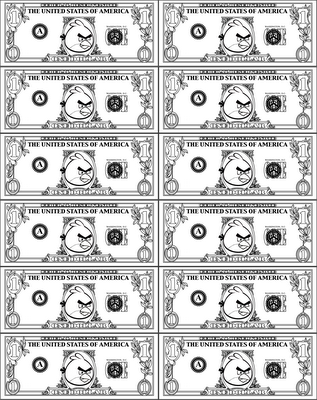 Angry Birds Play Money Dollar Bill Coloring Page Red Boy Bird