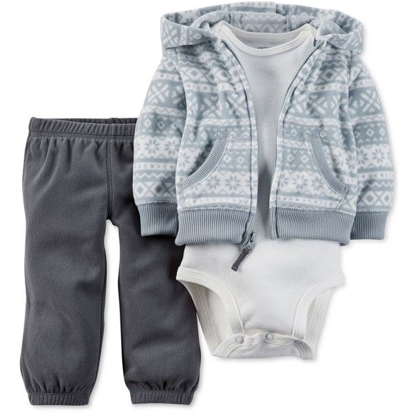 Carter's Baby Boys' Cardigan, Pants and Bodysuit 3-Piece Set (155 BRL) ❤ liked on Polyvore featuring baby boy