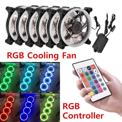 8 83 Computer Case Pc Rgb Cooling Fan Adjust Led 120mm Cooler Remote Control 12v Lot Computer Case Cooling Fan Remote Control