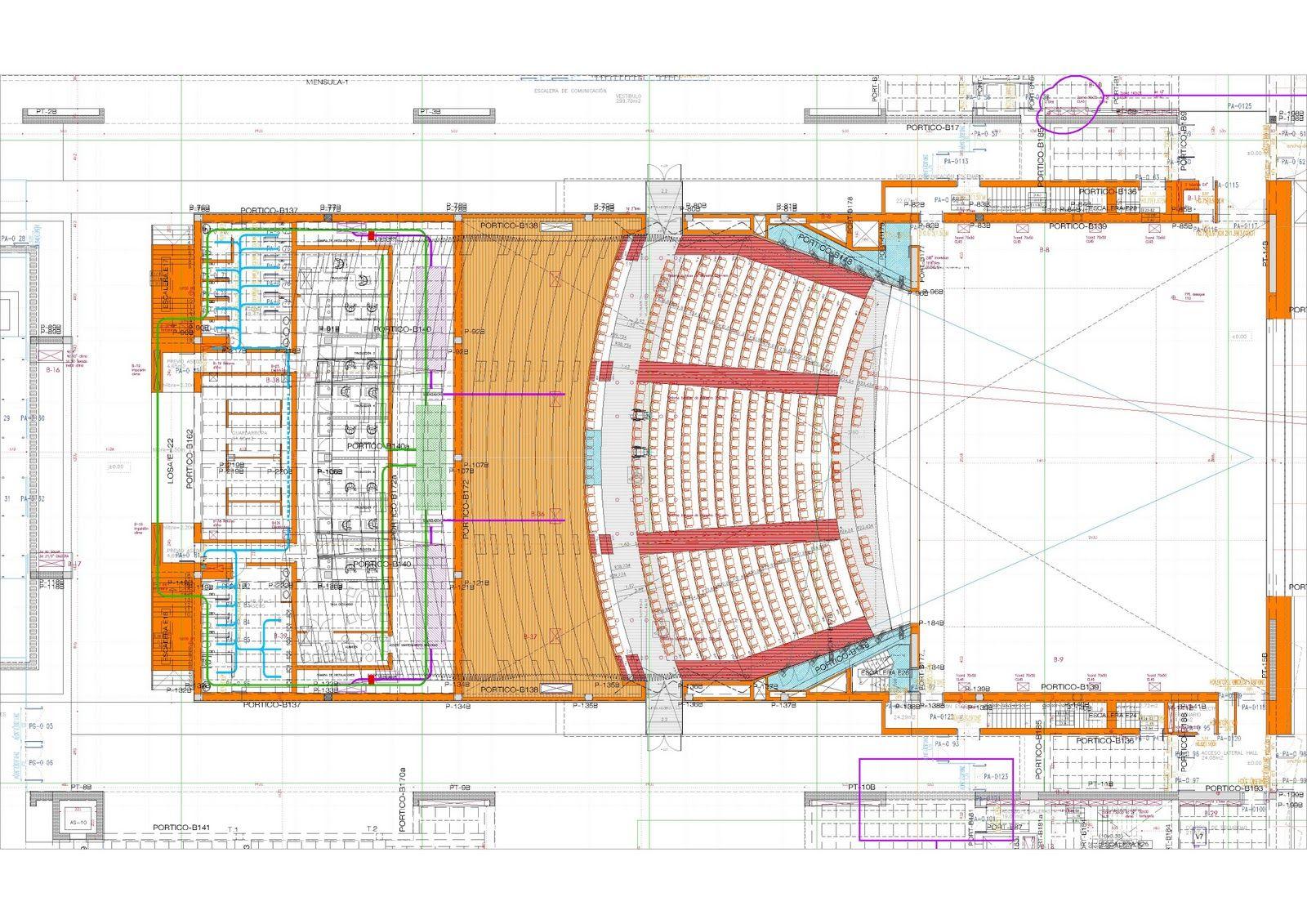 Sección Longitudinal por la plaza y la Sala del Auditorio      P0. Planta de Acceso      Sección Transversal por Salas, Danza y Conservato...