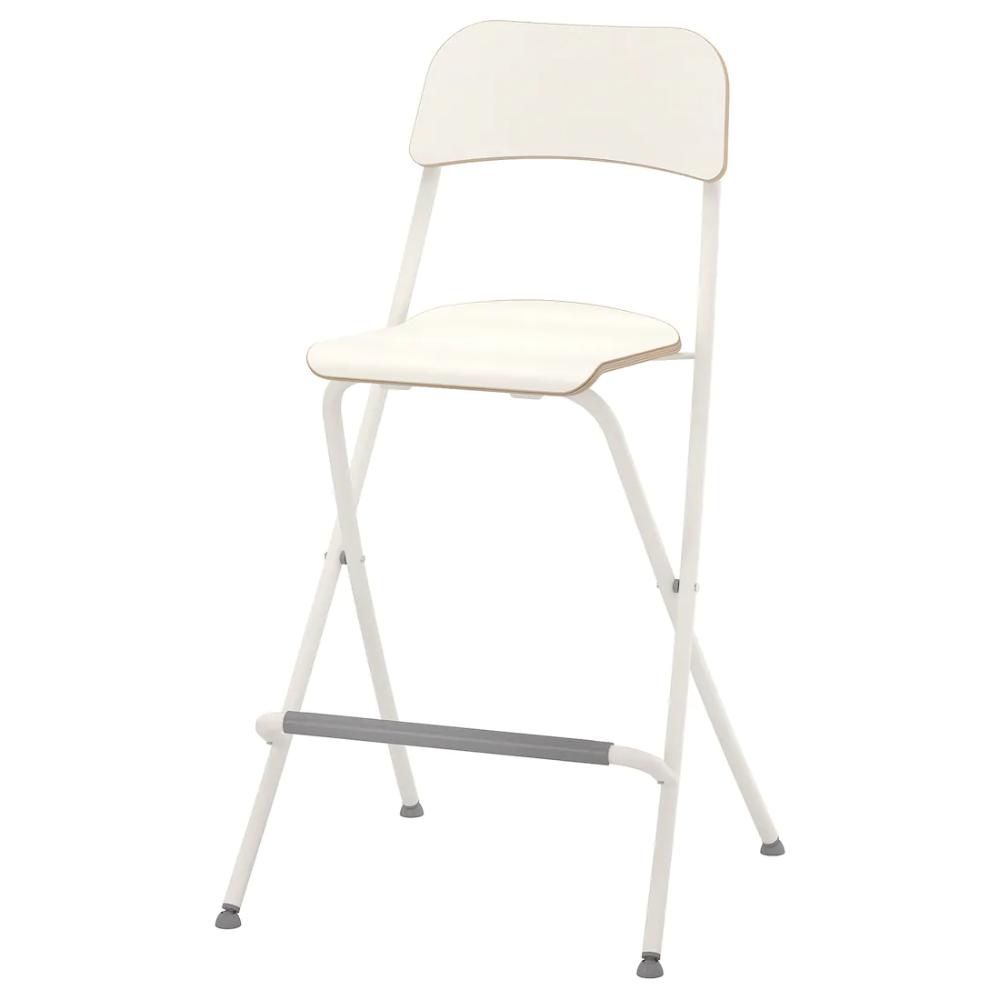 FRANKLIN Taburete alto plegable, blanco, blanco, 63 cm